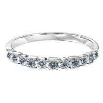14K White Gold Blue Diamond Stackable Ring