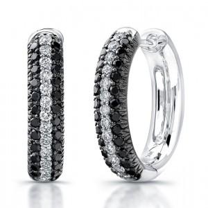14KW Gold 1.10CtTW Black & White Diamond Earrings