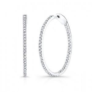 14K White Gold 1.00CtTW Diamond Hoop Earrings