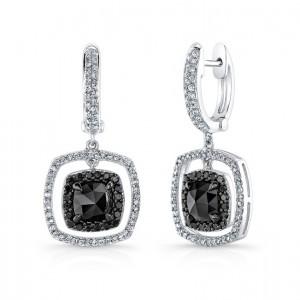 14K White Gold 3.25CtTW Black & White Diamond Earrings