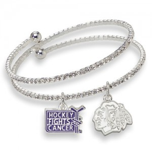 Chicago Blackhawks - Hockey Fights Cancer Crystal Bracelet